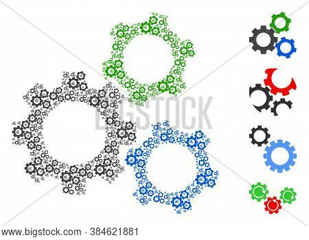 Vector Cogwheels Collage Is Created With Repeating Recursive Cogwheels Items. Fractal Collage For Co