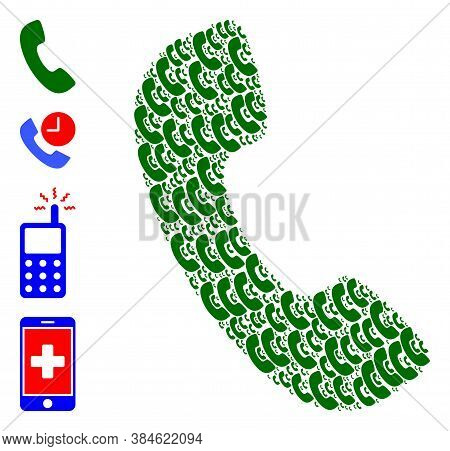 Vector Phone Receiver Composition Is Composed Of Repeating Self Phone Receiver Icons. Recursive Comp