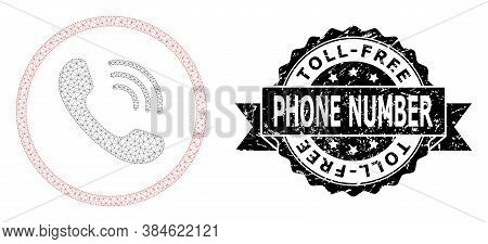 Toll-free Phone Number Unclean Stamp And Vector Telephone Call Mesh Structure. Black Stamp Has Toll-