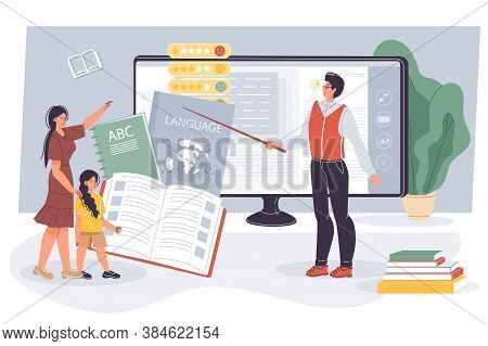 Girl Kid Getting Language Knowledge At Online Lesson. Mother Help Daughter To Study. Man Teacher Tea