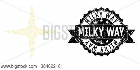 Milky Way Unclean Watermark And Vector Space Star Mesh Model. Black Seal Includes Milky Way Title In