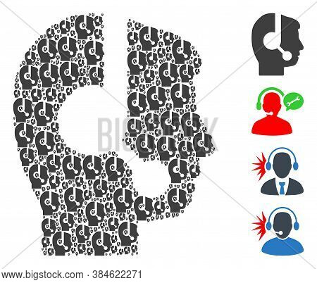 Vector Call Center Operator Collage Is Designed From Random Recursive Call Center Operator Icons. Re