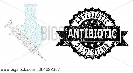 Antibiotic Textured Seal Print And Vector Vaccine Labs Mesh Structure. Black Stamp Seal Has Antibiot