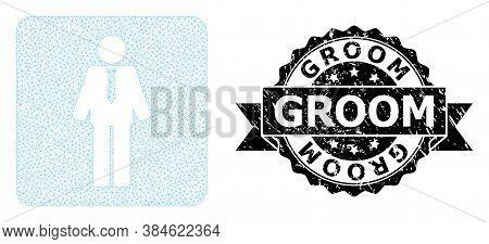 Groom Textured Stamp Seal And Vector Groom Mesh Model. Black Stamp Seal Has Groom Title Inside Ribbo