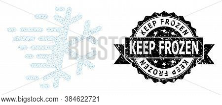 Keep Frozen Unclean Seal Print And Vector Frost Snowflake Mesh Structure. Black Seal Contains Keep F