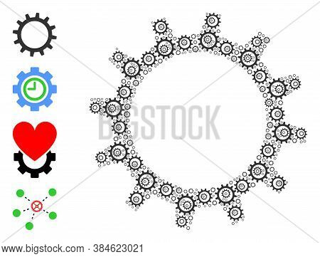 Vector Gear Composition Is Created From Repeating Recursive Gear Icons. Recursive Composition Of Gea