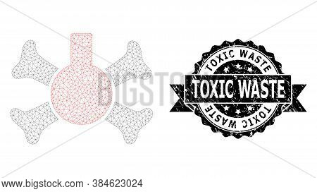 Toxic Waste Unclean Stamp Seal And Vector Poison Flask Mesh Structure. Black Stamp Seal Contains Tox