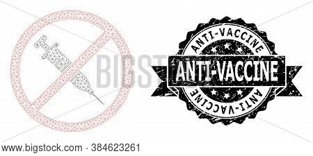 Anti-vaccine Unclean Stamp Seal And Vector Stop Vaccine Mesh Structure. Black Stamp Includes Anti-va