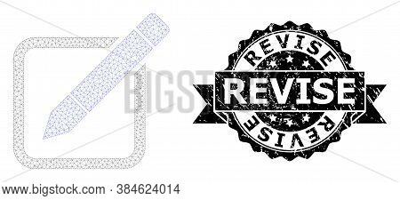 Revise Grunge Stamp And Vector Edit Pencil Mesh Structure. Black Stamp Seal Contains Revise Title In