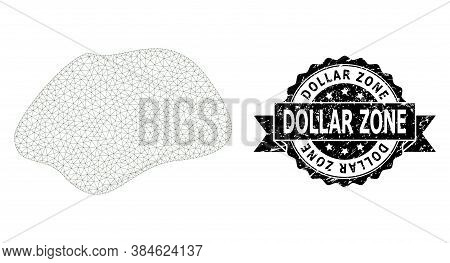 Dollar Zone Dirty Seal Print And Vector Spot Simple Mesh Structure. Black Stamp Seal Has Dollar Zone