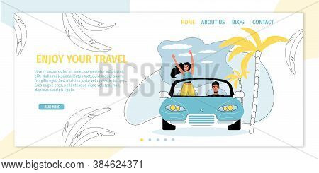 Happy Loving Man Woman Couple Traveler Character Driving Car Rejoice In Adventure Anticipation. Road