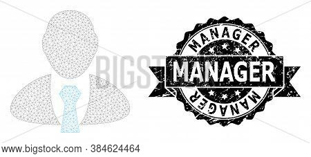 Manager Dirty Seal Print And Vector Manager Mesh Model. Black Seal Contains Manager Title Inside Rib