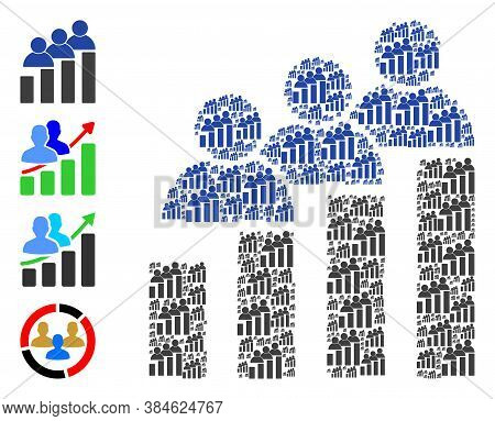 Vector People Bar Chart Collage Is Done Of Random Recursive People Bar Chart Elements. Recursive Col