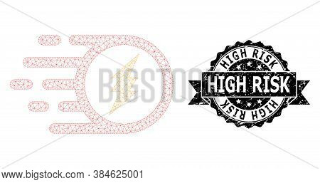 High Risk Unclean Stamp Seal And Vector Electric Charge Mesh Model. Black Seal Includes High Risk Ca