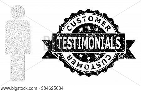 Customer Testimonials Rubber Seal Print And Vector Person Mesh Model. Black Stamp Seal Contains Cust