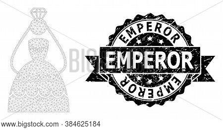 Emperor Grunge Seal Imitation And Vector Crowned Bride Mesh Structure. Black Stamp Seal Has Emperor
