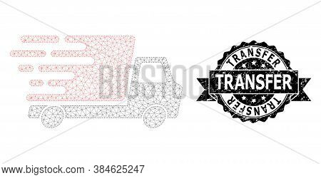 Transfer Corroded Seal Imitation And Vector Delivery Car Mesh Model. Black Stamp Seal Includes Trans