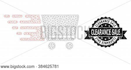 Clearance Sale Scratched Seal Print And Vector Shopping Cart Mesh Structure. Black Stamp Seal Contai