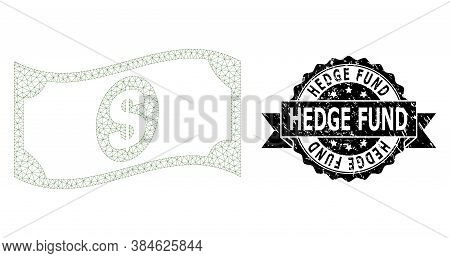 Hedge Fund Rubber Seal Imitation And Vector Waving Dollar Banknote Mesh Model. Black Seal Has Hedge