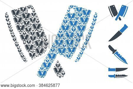 Vector Butchery Blades Mosaic Is Formed From Scattered Recursive Butchery Blades Pictograms. Fractal