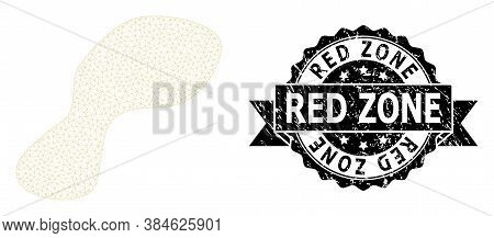 Red Zone Grunge Stamp Seal And Vector Spot Mesh Structure. Black Stamp Includes Red Zone Text Inside