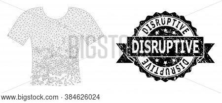 Disruptive Dirty Seal Imitation And Vector Ragged T-shirt Mesh Model. Black Stamp Contains Disruptiv