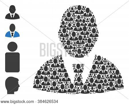 Vector User Profile Composition Is Formed From Repeating Self User Profile Icons. Recursive Composit