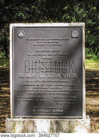 Leon, Nicaragua - November 27, 2008: Closeup Of Black Metal Official Plate At Entrance To Ruinas De