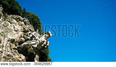 North Ossetia, Russia September 1, 2020: The Monument To Knight Is Carved In The Rock. Monument To A