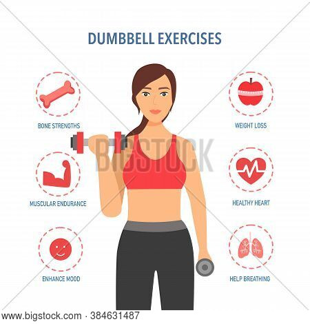 Beautiful Healthy Fitness Woman Doing Exercise With Dumbbells. Benefits Of Dumbbells Exercise Or Wei