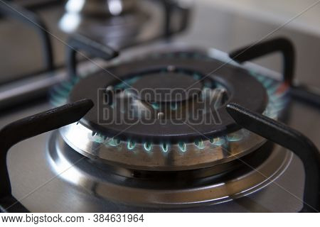 Kitchen Gas Cooker With Burning Fire Propane Gas.