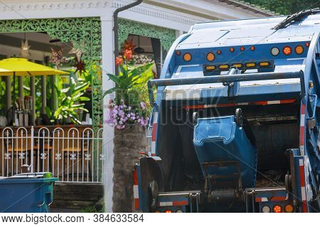 Urban Municipal Recycling Garbage Collector Truck Waste Trash Bin In Industrial Vehicle