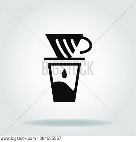 Logo Or Symbol Of Coffe Maker V60 Icon With Black Fill Style