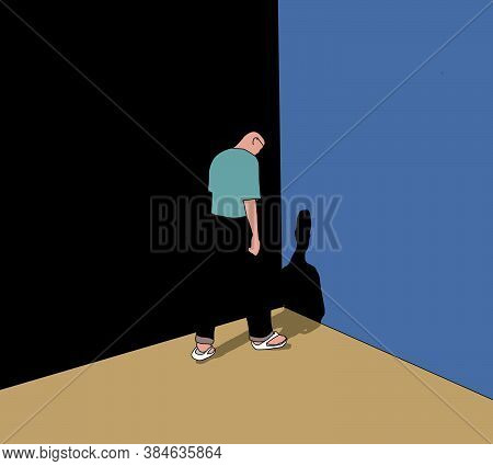 Unhappy Young Man Stand In Front Of A Wall Looking Down Feeling Bad, Hopeless, Depressed, Frustrated