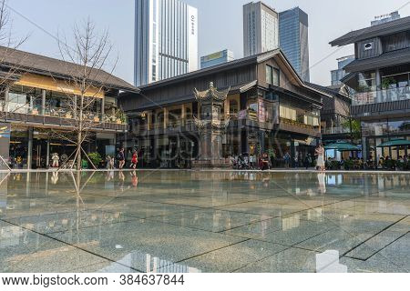 Chengdu, China - Aug 25, 2019: People At Taikoo Li Shopping Complex In Chengdu. It Is An Open Plan R