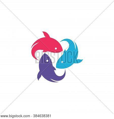 Aquatic Beautiful Japan Koi Fish Circle Group Logo