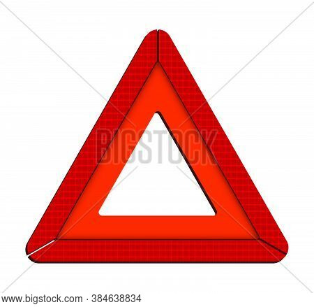 Warning Triangle. Emergency Stop Sign In Case Of Breakdown. Car Breakdown On The Road. Vector