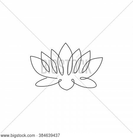Single Continuous Line Drawing Of Beauty Fresh Lotus For Salon Relaxation Therapy Business Logo. Dec