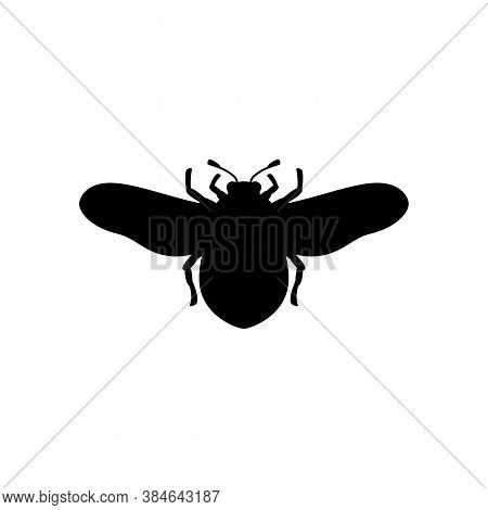 Bumblebee Silhouette In A Simple Trendy Style. Vector Outline Emblem Of Insect With Wings For Creati