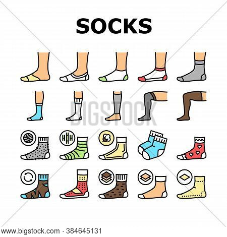 Socks Fabric Accessory Collection Icons Set Vector. Socks For Men And Women, Toe Cover And Invisible