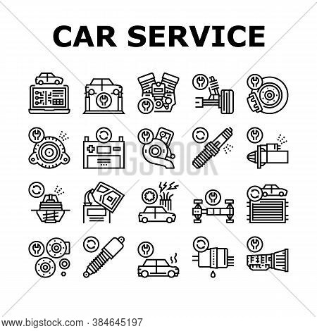 Car Service Garage Collection Icons Set Vector. Car Service Repair Ball Joint And Turbine, Electrica