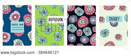 Cover Page Vector Templates Based On Seamless Patterns With Hand Drawn Hippyish Flowers. Perfect For