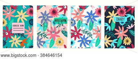 Cover Page Vector Templates Based On Seamless Patterns With Hand Drawn Wild Flowers. Perfect For Sch