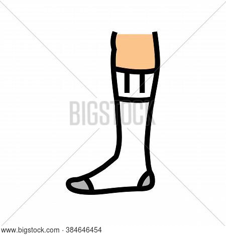 Over Calf Sock Color Icon Vector. Over Calf Sock Sign. Isolated Symbol Illustration