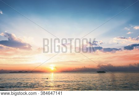 Sunset And Sea Background Concept: Colorful Ocean Beach Sunrise
