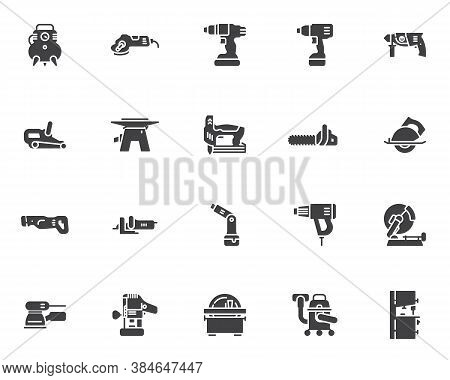 Power Tool Vector Icons Set, Modern Solid Symbol Collection, Filled Style Pictogram Pack. Signs, Log