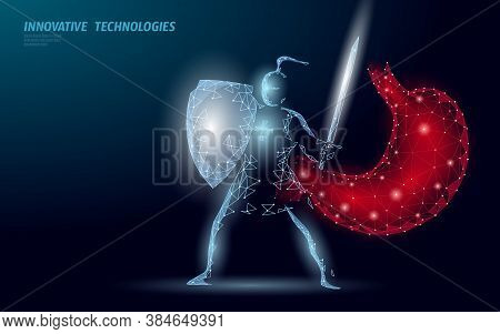 Human Stomach Microscopic 3d Protection Probiotics. Healthy Normal Digestion Knight Character Flora