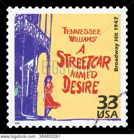 United States Of America, Circa 1999: A Postage Stamp Printed In Usa Showing An Image Of The Broadwa