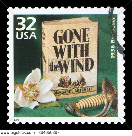 United States Circa 1998: A Postage Stamp Printed In Usa Showing An Image Of Gone With The Wind Nove