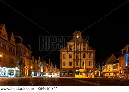 Speyer, Germany - Mar 14, 2020: The Facade Of The Old Mint, Alte Muenze In Speyer In Germany At Nigh